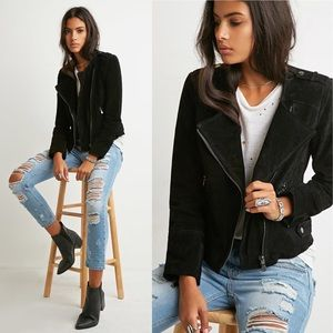 Genuine Suede Leather Moto Jacket